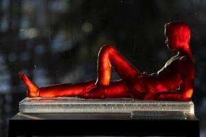 "A Warm Spring Day; Kiln Cast Gaffer Crystal on fused glass base; 6.5""H x 12 x 4; 2015"